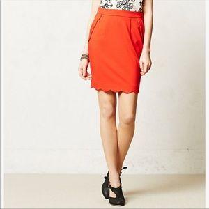 Anthropologie Darling Red Scalloped Skirt
